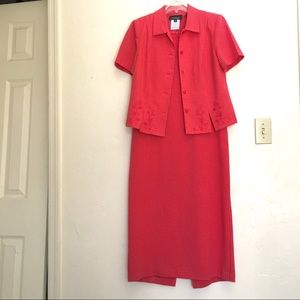 2-Piece Jacket Dress Red Check Poly Rayon Sz8P